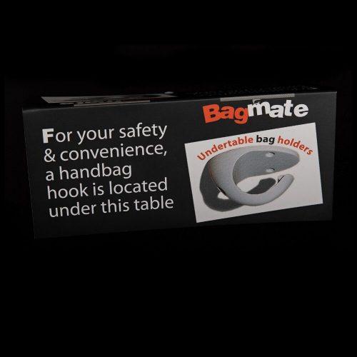 Bagmate Undertable Bag Hook Customer Awareness Table Tent Card