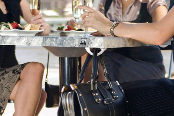 Hookit Australia Cafe undertable Bag Hooks with signage-min